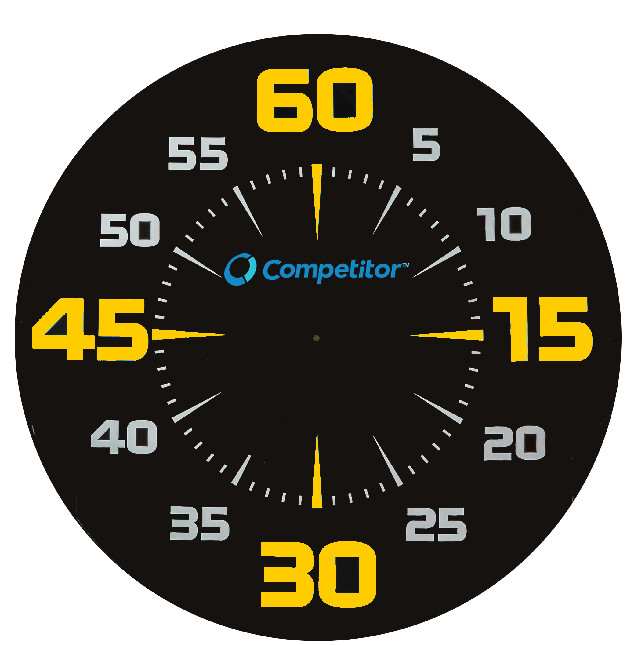 Worksheets Parts Of A Clock Face pace clocks competitor swim black clock face with vivid white and yellow numbering large easy to see quarter minute numbers