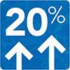 Blue 20% positive